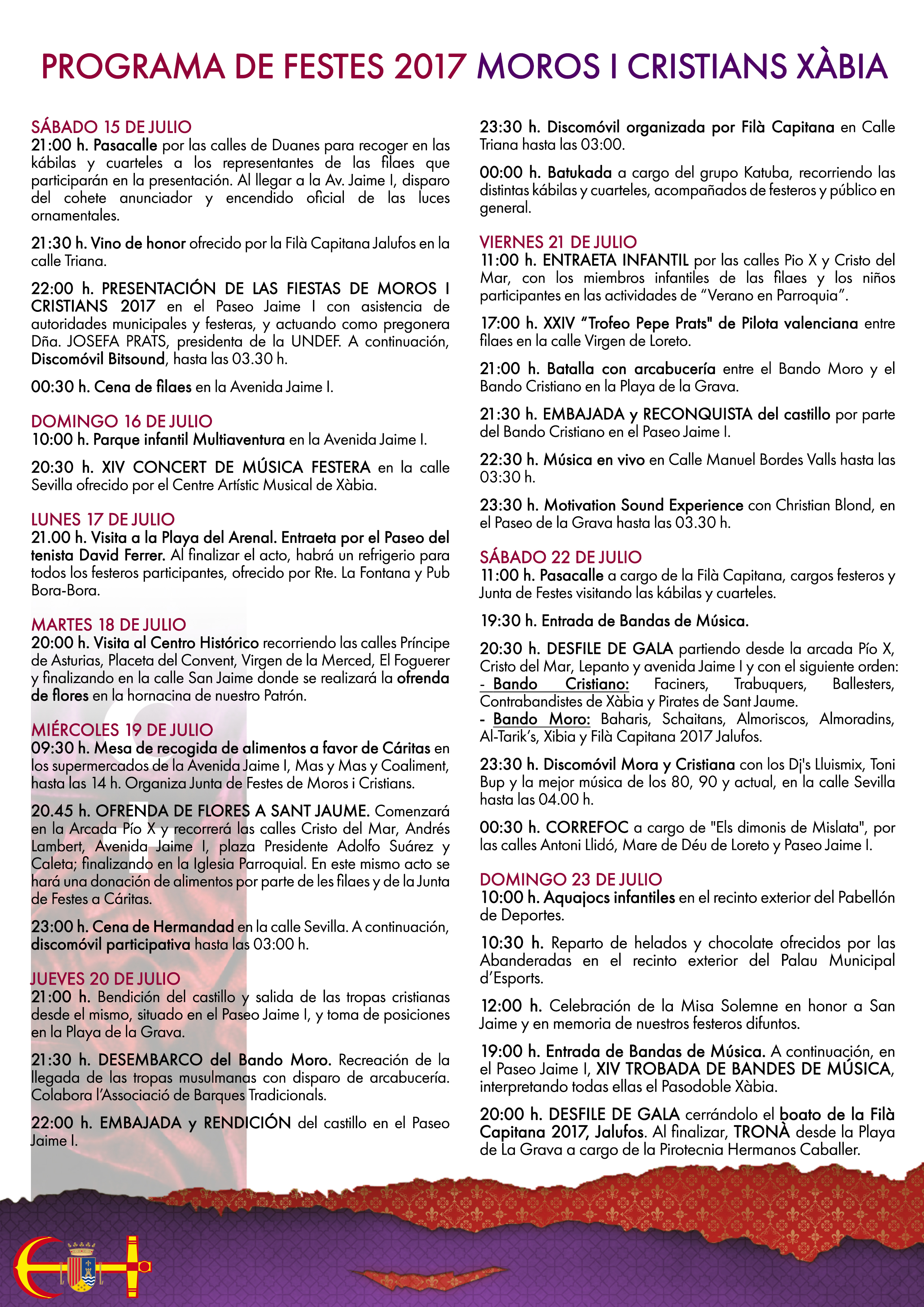 Programa Fiestas Moros i Cristians Xàbia 2017